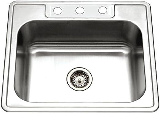 Houzer 2522-8BS3-1 Glowtone Series Topmount Stainless Steel 3-hole Single  Bowl Kitchen Sink, 8-Inch Deep