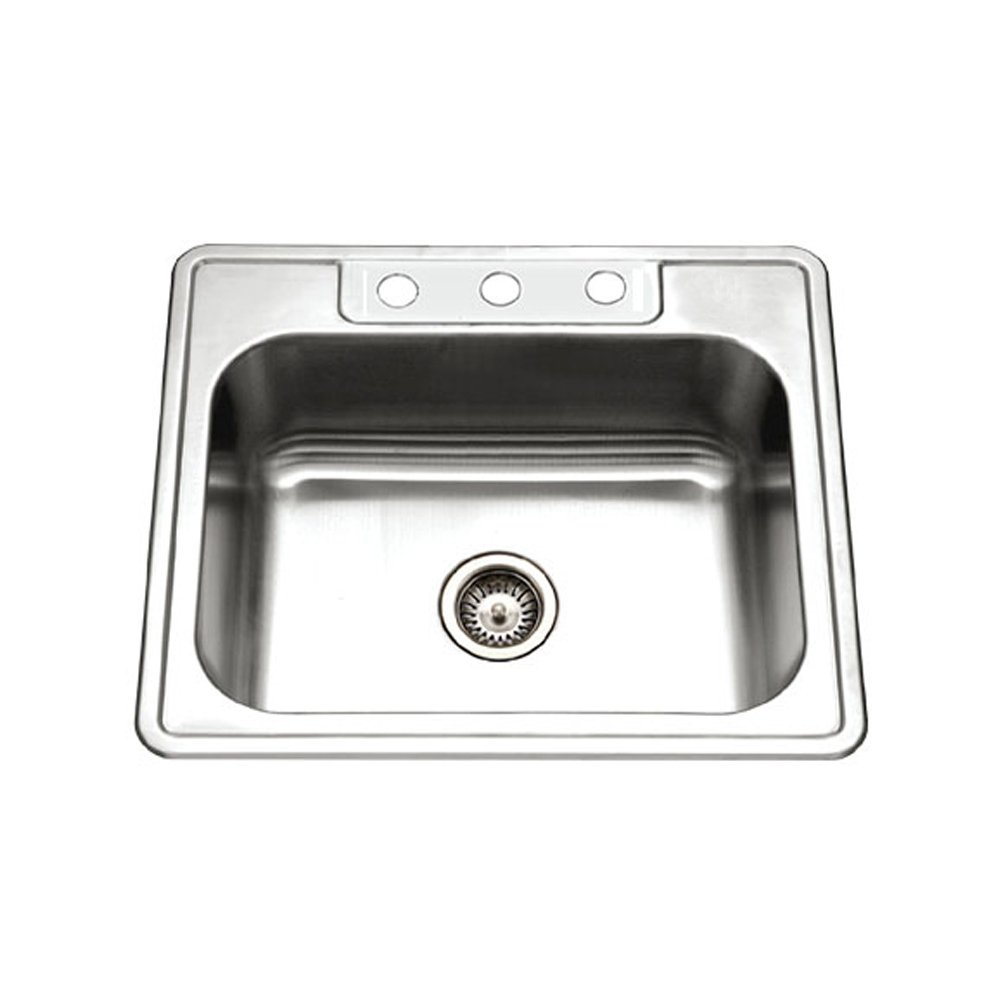 Houzer 2522-8BS3-1 Glowtone Series Topmount Stainless Steel 3-hole Single Bowl Kitchen Sink, 8-Inch Deep by HOUZER