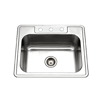 Medium image of houzer 2522 8bs3 1 glowtone series topmount stainless steel 3 hole single bowl