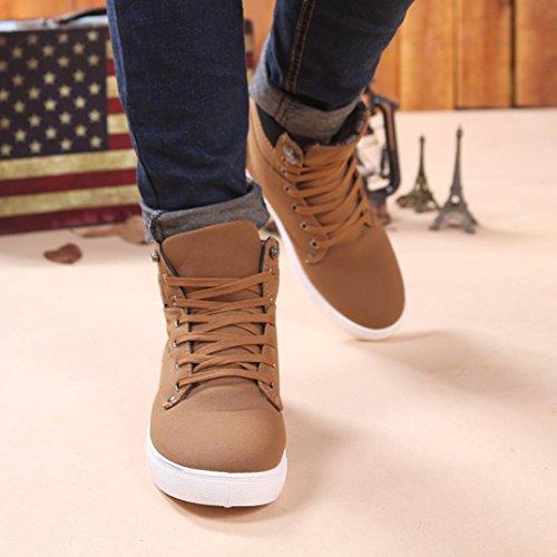 Moda Autunno Casual Uomo Oxfords All'aperto Stivali Scarpe BeautyTop Sneakers High Retro Martin Scarpe Uomo Top Cachi Casuale Sneakers ERqxxFpC