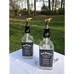 Jack Daniels Whiskey Bottle Tiki Torch/Oil Lamp - Two - Outdoor Lighting - Garden Decor - Wine Decor