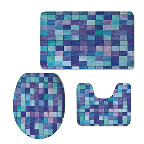 Cardinals Glass Night Light (Fashion 3D Baseball Printed,Navy and Teal,Stained Glass Inspired Design Checkered Pattern Dreamy Fantasy Colors Shades Decorative,Multicolor,U-Shaped Toilet Mat+Area Rug+Toilet Lid Covers 3PCS/Set)