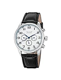 GuTe Vintage Casual Men Automatic Mechanical Wristwatch Blue Hands White Dial PU