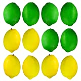 Bantoye 20 Pieces Realistic Fake Lemons, Yellow & Green Artificial Simulation Lemon Decoration, Home Staging, 2 Colors