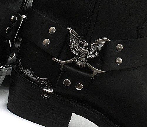 Grinders New Eagle Hoch Schwarz Herren-Leder-Cowboy Biker Knöchel Westernstiefel Schuhe EU 40-46