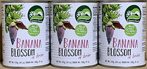 Nature's Charm Banana Blossom In Brine 18oz By KC Commerce (Pack of 3)