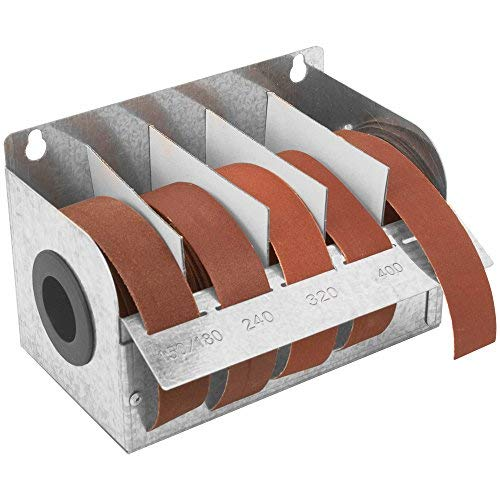 Steel 5 Abrasive Roll Dispenser with 5 Abrasive Rolls Included (1 Steel Dispenser with All 5 Grits) by Peachtree Woodworking Supply