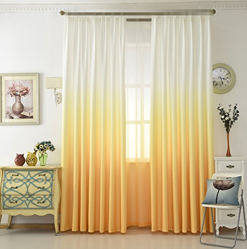 TIYANA Window Panels Grommet Top Gradient Color Cloth Fabric Curtains Semi Blackout Drapes for Living Room Kids Bedroom 1 Panel White and Yellow W39x L84 Inch