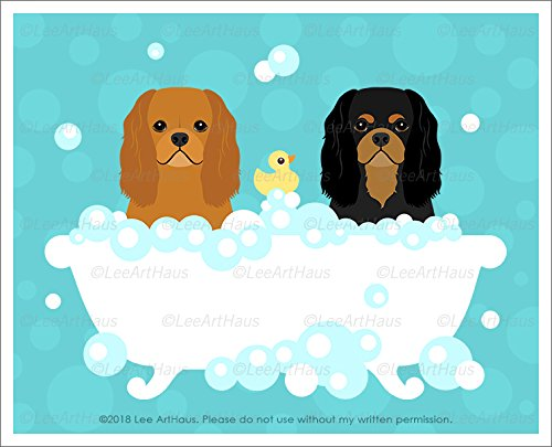 411D -Black and Tan and Ruby Cavalier King Charles Spaniel Dogs in Bubble Bath Bathtub UNFRAMED Wall Art Print by Lee ArtHaus (Black And Tan King Charles Spaniel)
