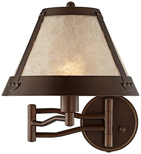 Samuel Blonde Mica Mission Swing Arm Wall Lamp (Backplate Swing Arm Wall Lamp)