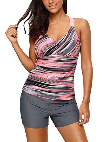 Nicetage Women's Plus Size Tankini Top Only Straps Athletic Swimwear 410458 (Khaki, M)