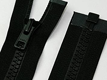 2 Wege Reissverschluss 95 cm Teilbar Grobe Zähne Vislon Jacken Schwarz Neu