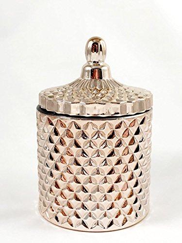 Geo Cut Glass Jar Decorative Multipurpose Jar Rose Gold Great ()