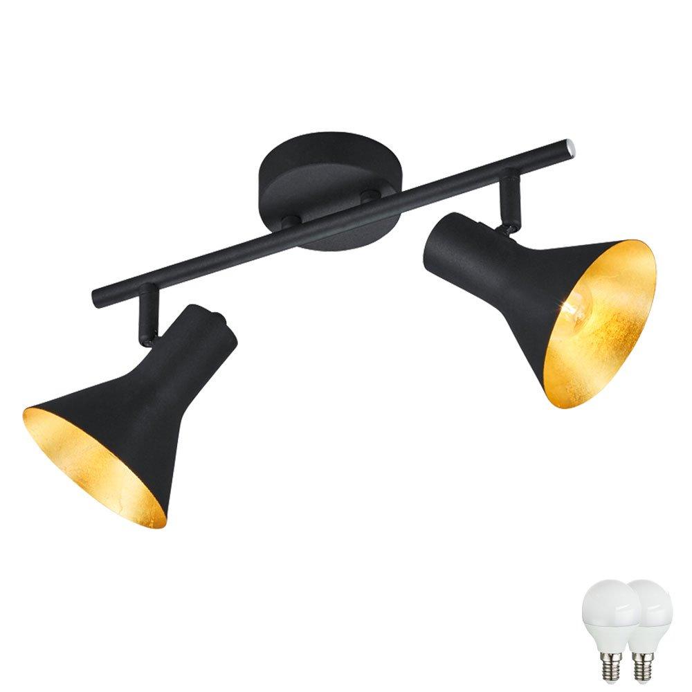 Decken Spot gold verstellbar Wohn Zimmer Metall Leuchte matt schwarz im Set inkl. LED Leuchtmittel