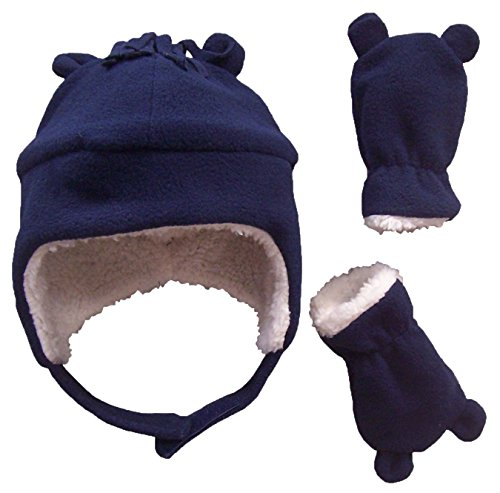 N'Ice Caps Boys Sherpa Lined Micro Fleece Hat and Mitten Set with Ears (6-15 Months, Infant - Navy)