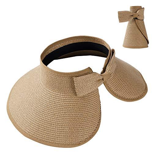 - Summer Straw Beach Sun Visor Ponytail Hats for Women Foldable Floppy (Straw-Kd-Khiki)