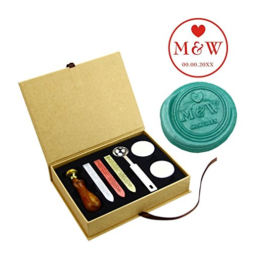 ZOVEE Vintage Groom Bride Monogram Wedding Brass Head Rosewood Handle Wax Seal Stamp Kit Wedding Pary Invitation Stamps