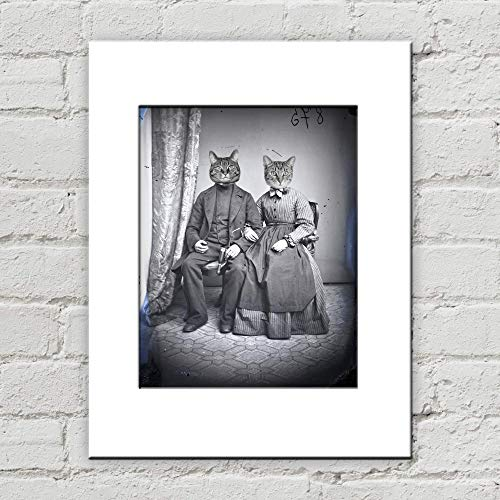 (Victorian Cat Couple Matted Anthropomorphic Art Print 8 Inches x 10 Inches)