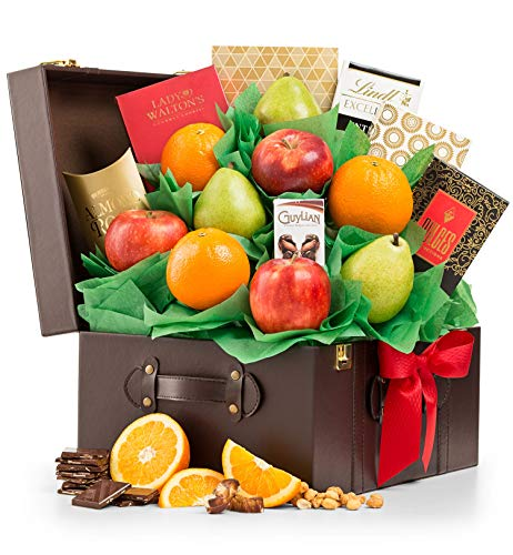 - GiftTree Fresh Fruit and Chocolate Gift Basket | Packed with Fresh Premium Fruit, Lindt Chocolate and Guylian Truffles | Reusable Keepsake Chest | Birthday, Get Well or Thank You Gift