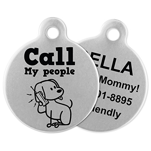 Dog Pet Id My Tag (If It Barks Engraved Pet ID Tags For Dogs - Personalized Pet ID Name Tag Attachment - Made in USA, Stainless Steel Dog Tags (Call My People))