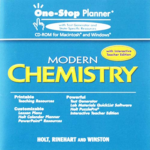 Holt Modern Chemistry: One-Stop Planner CD-ROM with ExamView Test Generator (One Stop Planner Cd Rom With Test Generator)