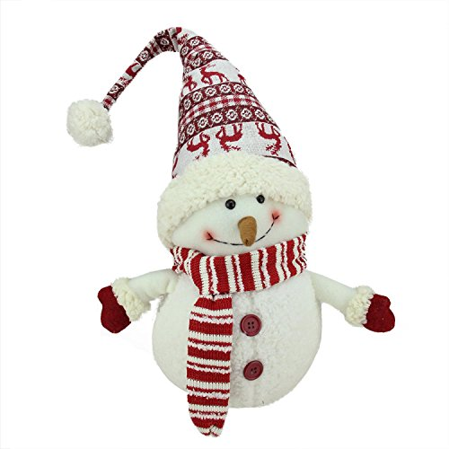 Northlight Ivory Red and White Chubby Smiling Snowman with Reindeer Hat Plush Table Top Christmas Figure, (Chubby Snowman)