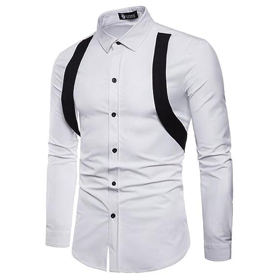 Sannysis Camisetas Hombre Manga Larga Personalidad Estampado de Multicolor Casual Slim Fit Basicas Negocio Camisas Formales