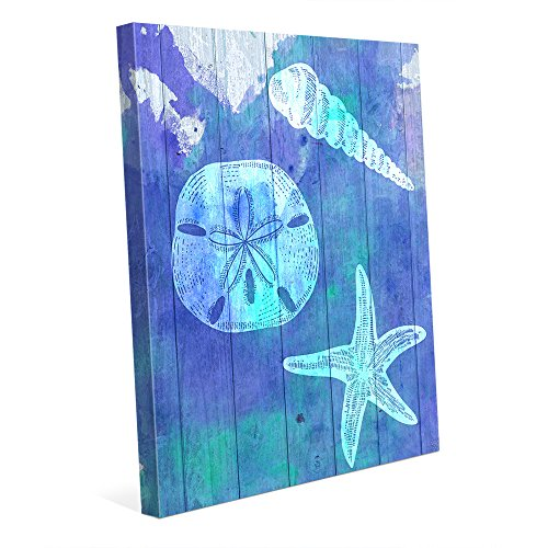 Pictures Sand Dollars - Sea Treasures- Purple Watercolor Painting of Spiral Seashell Sand Dollar & Starfish in Blue & Violet for Nautical Beach House Wall Art Print on Canvas