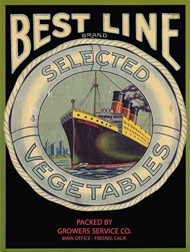 - Best Line Vegetable - Vintage Crate Label (9x12 Art Print, Wall Decor Travel Poster)