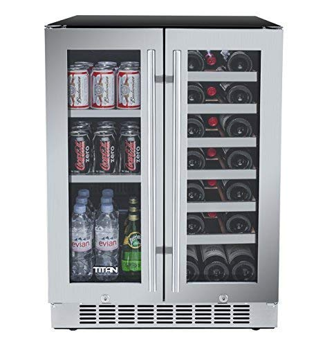 Titan 24 inch 60 Cans and 21 Bottles Built-in Dual Zone Wine Cooler and Beverage Cooler, Roller Glide Wooden Shelves, Memory Temp Function, Open Door&High Temp Alarms,Carbon Filter