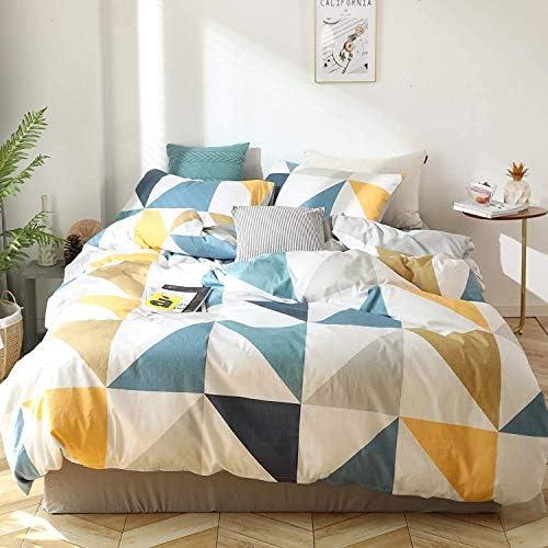 DPJ 4 pièces en Coton Triangle Housse de Couette Motif géométrique literie de Couleur Contrastante Housse de Couette taie d'oreiller, Bleu-Jaune, 200x220 + 2X 80x80cm