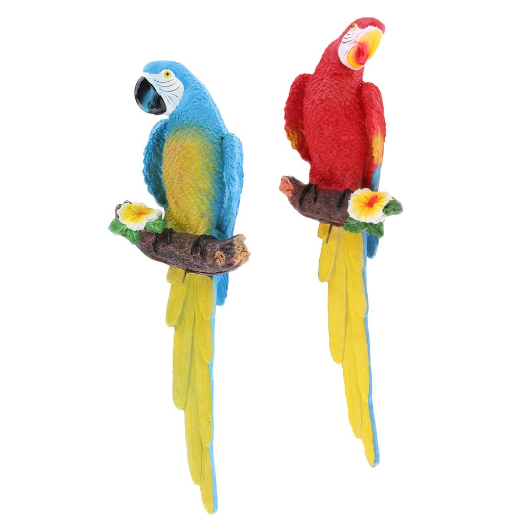 FLAMEER 2 Pz Modello Pappagallo Uccelli Statue Figurine Destra Sinistra Resina Rosso Blu