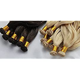 Hand Tied Human Hair Weft White Blonde #60 Silky Straight 16-24inch 100gm 6a Grade