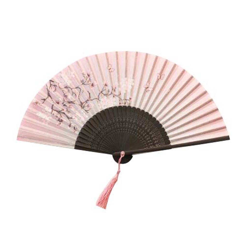 PANDA SUPERSTORE Beautiful Handheld Folding Fan Women's Folding Fan Hand Fan Retro Style Pink PS-HOM2232419011-SUE01168