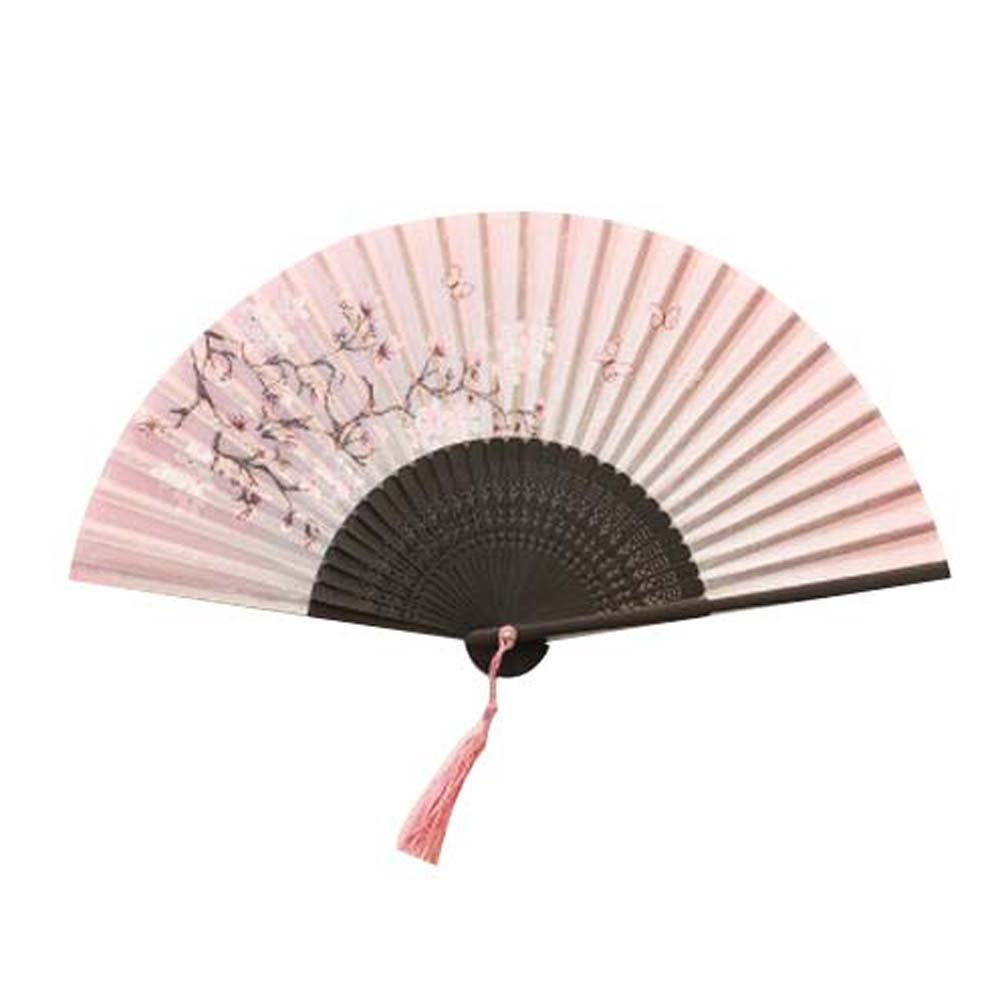 Beautiful Handheld Folding Fan Women's Folding Fan Hand Fan Retro Style Pink