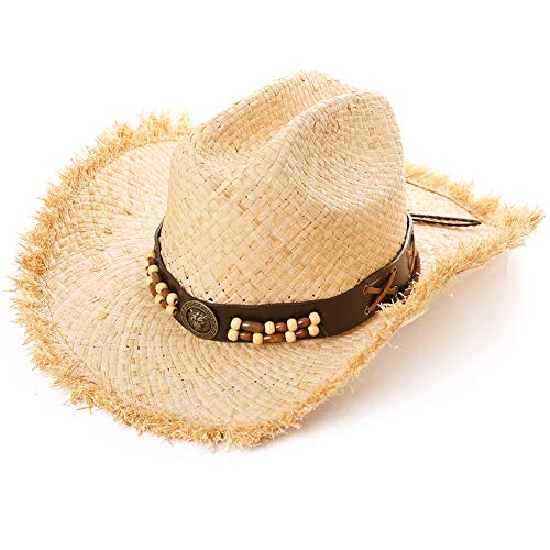 Western Style Round Up Cowboy Straw Hat Ladies Fedora Chin Cord Vegan Leather Band Shapeable Brim Beach Cowgirl Natural ()