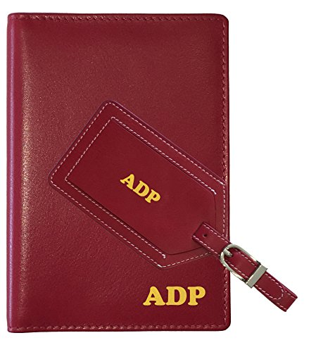 Personalized Monogrammed Red Leather RFID Passport Wallet and Luggage - Cover Passport Monogrammed