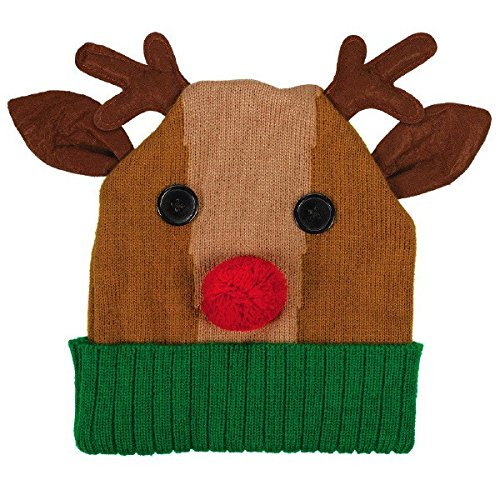 [Amscan Fun-Filled Christmas & Holiday Party Reindeer Knit Hat, Green Brown, 11