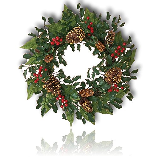 "Custom & Unique (18"" Inches) 1 Single Mid-Size Decorative Holiday Wreath for Door, Made of Resin w/ Artificial Festive Christmas Elegant Holly Berries & Pine Glowing Style (Red, White, Green, & Brown) (Berries Art Holly Clip)"