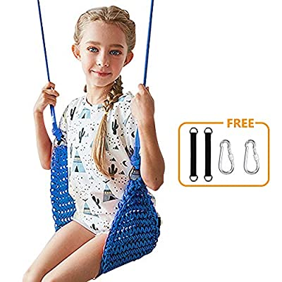 Donghoodshop Kids Swing Seat,Children Swing Set for Indoor/Outdoor/Home/Playground/Tree/Background Heavy Duty Rope Play Swing Seat,Suit for 2 to 12 Years,440 lbs Capacity (Blue): Toys & Games