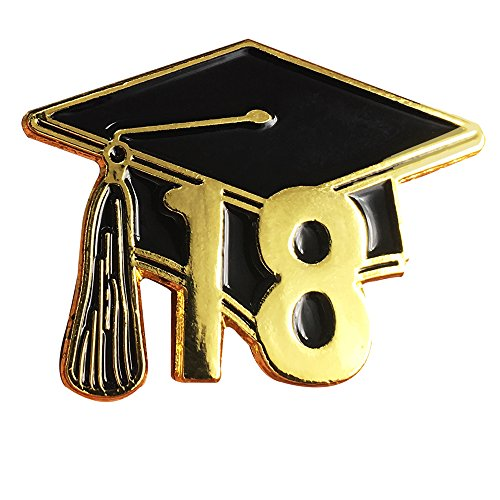 Graduationmall Zinc Alloy graduation Souvenir 2018 Lapel Pin Badges 10 pack
