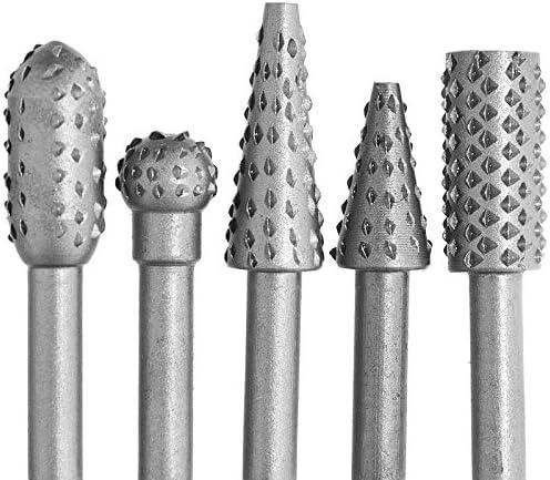 Holzfräser Satz 5 tlg. Schaft 6 mm, Holzraspel Schleifstifte Holzbearbeitung