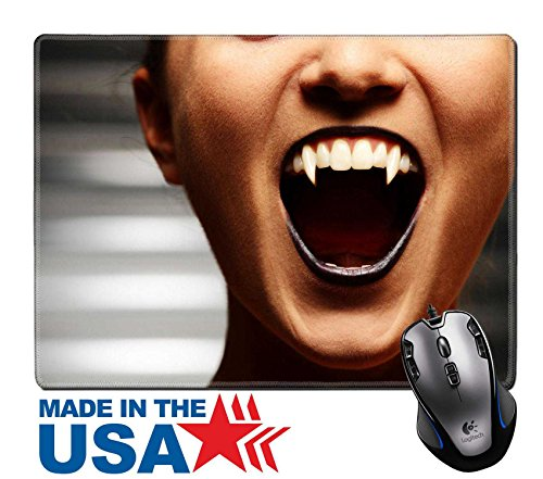 "MSD Natural Rubber Mouse Pad/Mat with Stitched Edges 9.8"" x 7.9"" IMAGE ID: 7890368 Close up of a vampire woman s mouth over dark (Stitched Up Mouth Halloween)"
