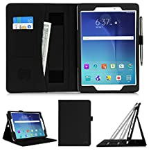 [Luxurious Protection] Samsung Galaxy Tab A 9.7 inch (P550) Tablet Case Cover, FYY® Premium PU Leather Case Stand Cover with Card Slots, Pocket, Elastic Hand Strap and Stylus Holder for Samsung Galaxy Tab A 9.7 inch (P550) Tablet Black