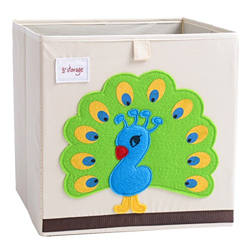 Basket Peacock - DODYMPS Foldable Animal Canvas Storage Toy Box/Bin/Cube/Chest/Basket/Organizer for Kids, 13 inch (Peacock)