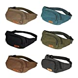 Canvas Three Zipper Pockets Fanny Pack Chest Waist Bag with Cell Phone Pouch,Can Carry Cell Phone Small Personal Stuffs for Both Men and Women Use Blue One Size