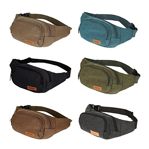 pretty nice b0978 493a7 Canvas Three Zipper Pockets Fanny Pack Chest Waist Bag with Cell Phone  Pouch,Can Carry Cell Phone Small Personal Stuffs for Both Men and Women Use  ...