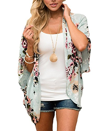 Womens Floral Chiffon Casual Cardigan - Bikini Half Sleeve Kimono Shawl Sun Protection Blouses Beach Wear (S, Green)