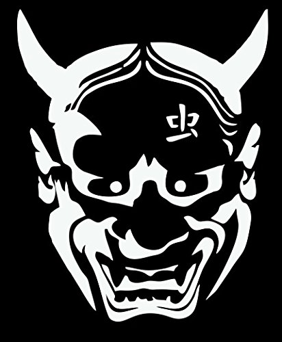 White japanese devil hannya mask vinyl decal for car truck boat