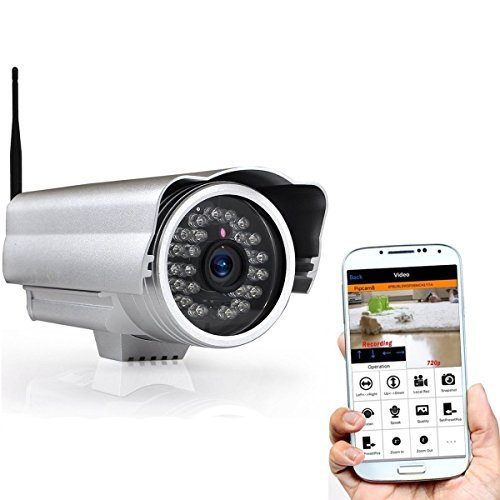 Pyle HD 720p Outdoor Wireless Home Security Surveillance IP Camera with Weatherproof Aluminum Body and Night Vision Connect Wifi for Remote Access to Live Video from Desktop or Mobile App [並行輸入品] B01NAP4PG9